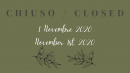NOVEMBER 1ST, 2020 - CLOSED
